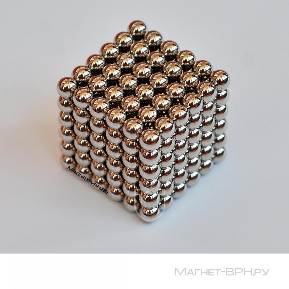 Неокуб стального цвета 5 мм, 216 шт