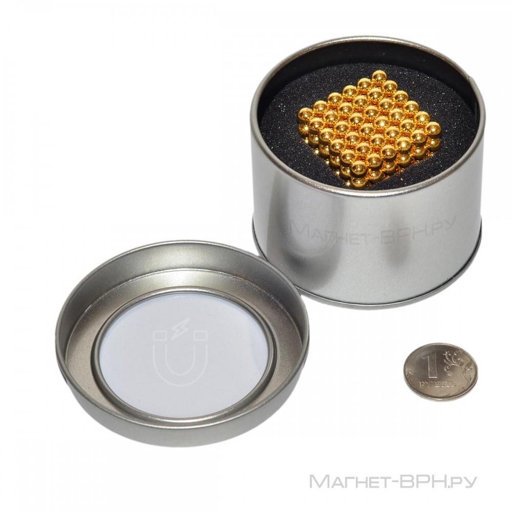 Неокуб золотого цвета 5 мм, 216 шт