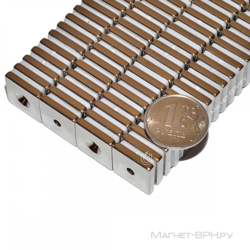 Неодимовый магнит прямоугольник 15х15х3 мм с зенковкой 3,5/7 мм