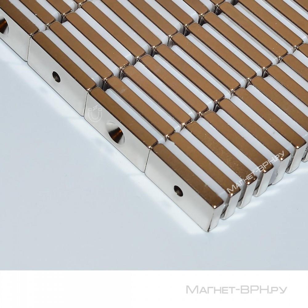 Неодимовый магнит прямоугольник 20х10х3 мм с зенковкой 3,5/7 мм