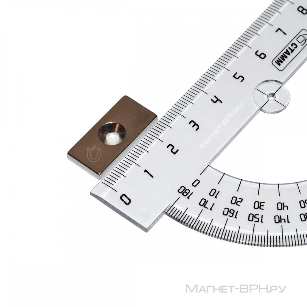 Неодимовый магнит прямоугольник 25х12х3 мм с зенковкой 3,5/7 мм