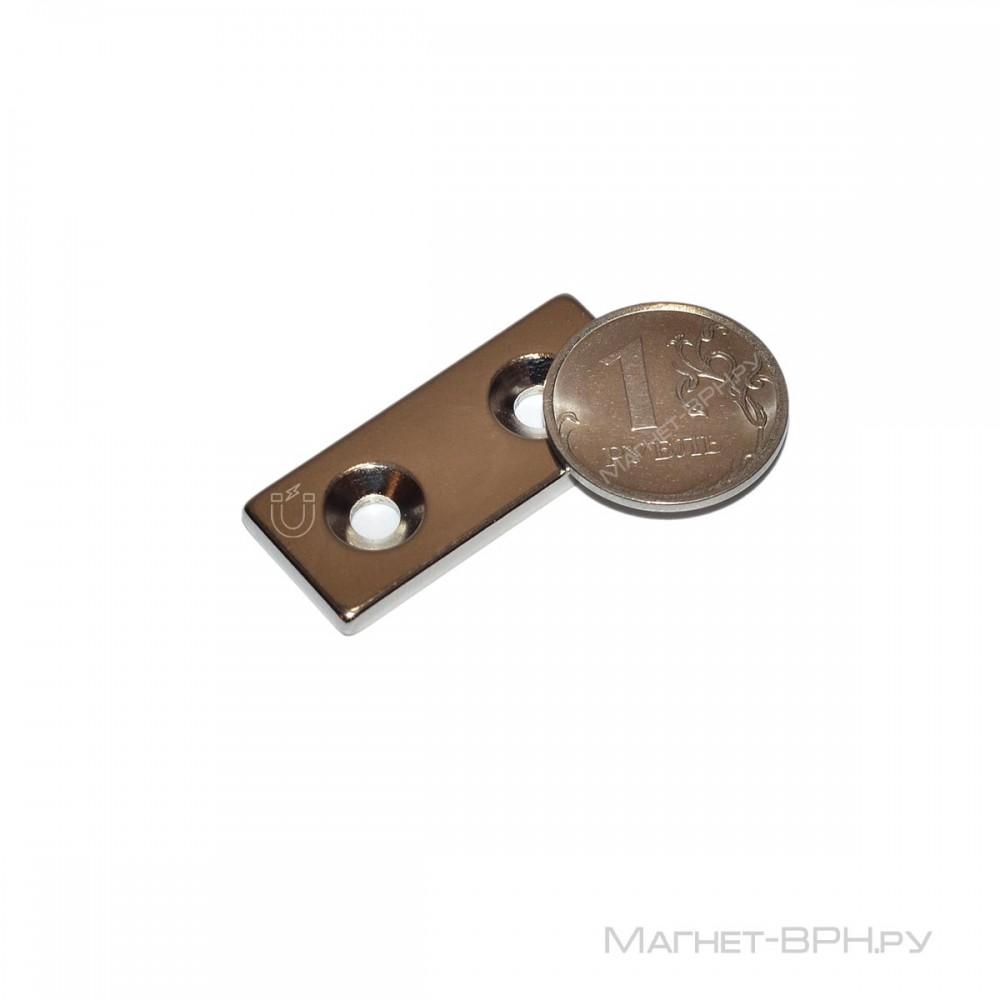 Неодимовый магнит прямоугольник 35х15х3 мм с двумя зенковками 4/8 мм